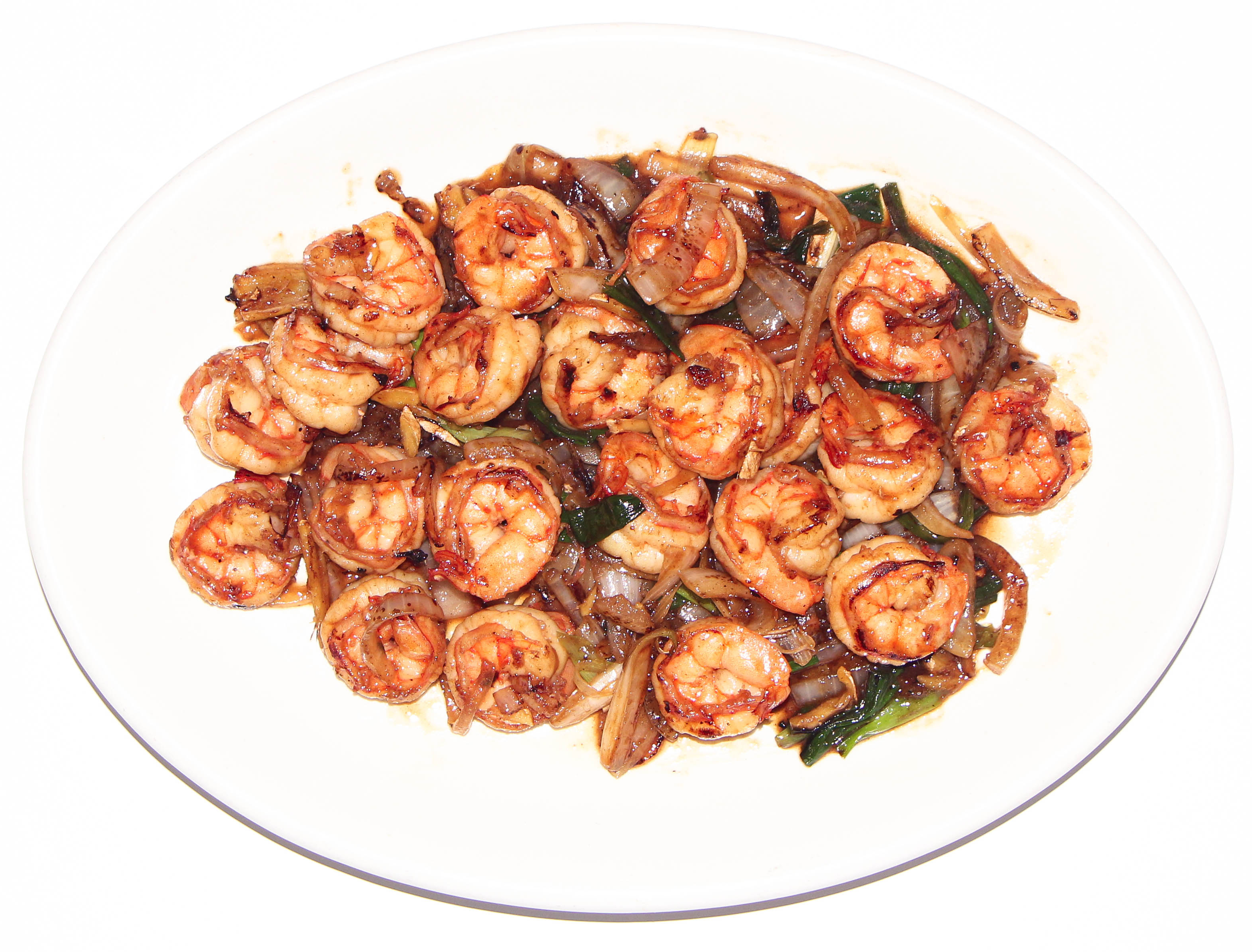 Stir Fried Shrimp with Ginger & Onions - Cunard Restaurant